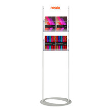 Custom Printed Steel Mesh Brochure Stand 1800  - Header with 4 A4