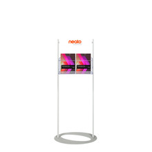 Custom Printed Steel Mesh Brochure Stand 1450  - Header with 2 A4