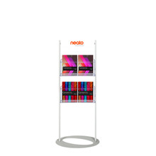 Custom Printed Steel Mesh Brochure Stand 1450  - Header with 4 A4