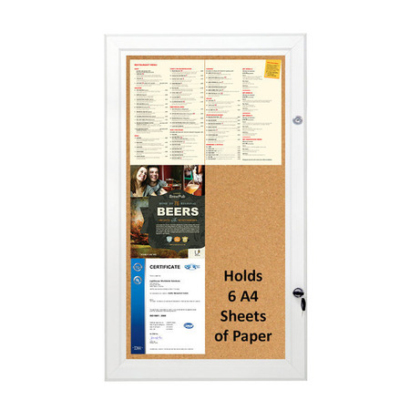 Cork Board Lockable & Water Resistant Holds 6 x A4
