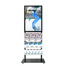 Tall Info Stand -  A1 Snap Frame with 3 A4 +  4 A5 + 6 DL Brochure Holders Double Sided