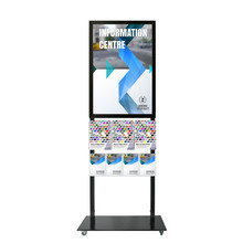 Tall Info Stand -  A1 Snap Frame with 3 A4 + 4 A5 Brochure Holders Double Sided