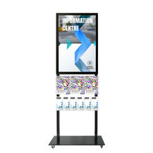Tall Info Stand -  A1 Snap Frame with 3 A4 + 6 DL Brochure Holders Double Sided