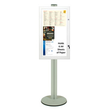 Silver Freestanding Magnetic Notice Board - 6 A4