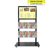 Black Mall Stand - A2 Snap Frame and 8 A5 Brochure Holders