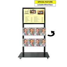 Black Mall Stand - A2 Snap Frame and 8 A5 Brochure Holders Double Sided