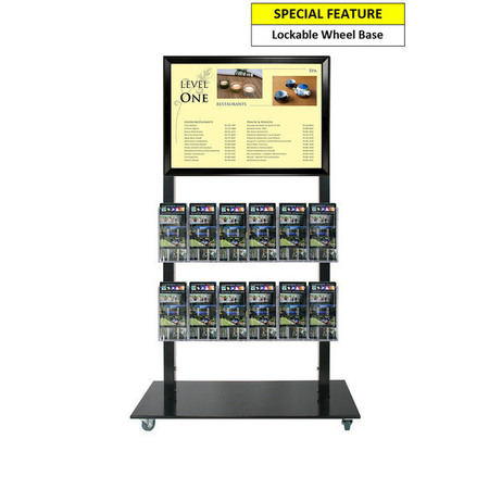 Black Mall Stand - A2 Snap Frame and 12 DL Brochure Holders