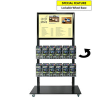 Black Mall Stand - A2 Snap Frame and 12 DL Brochure Holders Double Sided