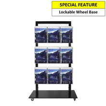 Black Mall Stand -  9 A4 Brochure Holders Double Sided
