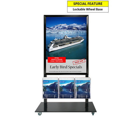 Black Mall Stand - A1 Snap Frame and 3 A4 Brochure Holders Double Sided