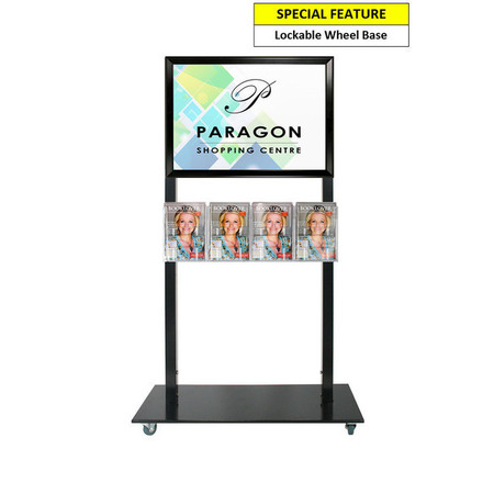 Black Mall Stand - A2 Snap Frame with 4 A5 Brochure Holders