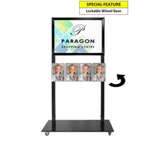 Black Mall Stand - A2 Snap Frame with 4 A5 Brochure Holders Double Sided