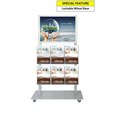 Silver Mall  Stand - A2 Snap Frame and 6 A4 Brochure Holders