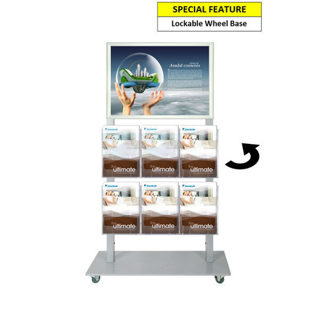 Silver Mall  Stand - A2 Snap Frame and 6 A4 Brochure Holders Double Sided