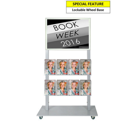 Silver Mall  Stand - A2 Snap Frame and 8 A5 Brochure Holders