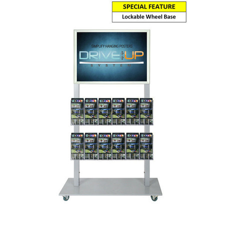 Silver Mall  Stand - A2 Snap Frame and 12 DL Brochure Holders
