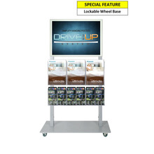 Silver Mall  Stand - A2 Snap Frame with 3 A4 and 6 DL Brochure Holder
