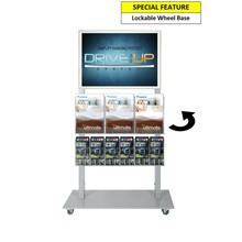 Silver Mall  Stand - A2 Snap Frame with 3 A4 and 6 DL Brochure Holder Double Sided