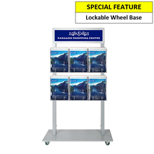 Silver Mall  Stand - Snap Header with 6 A4 Brochure Holders Double Sided