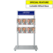 Silver Mall  Stand - Snap Header with 8 A4 Brochure Holders Double Sided