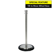 Silver Rope Barrier Pole and Wheel Base