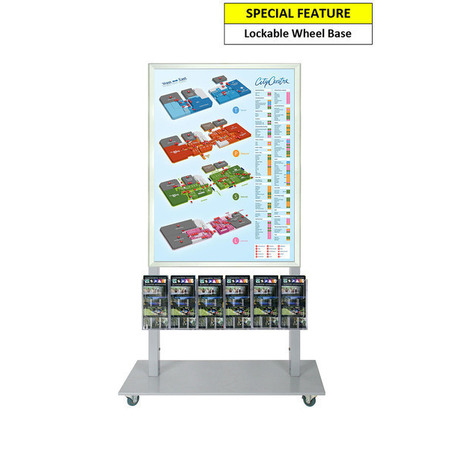 Silver Mall Stand - A1 Snap Frame with 6 DL Brochure Holders