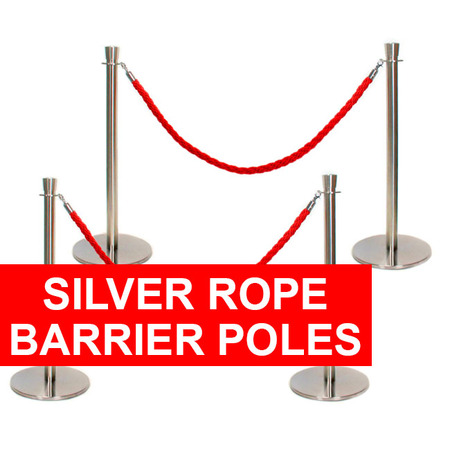 Silver Rope Barrier Poles
