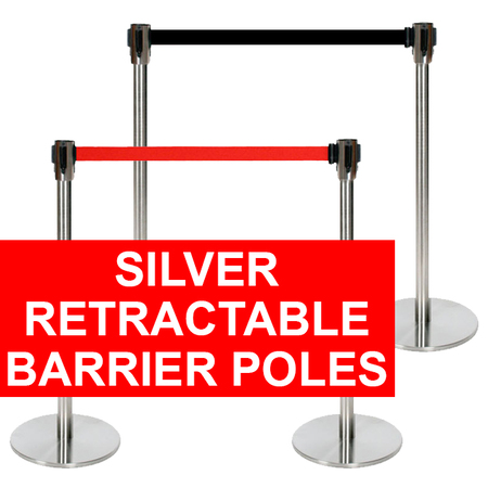 Silver Retractable Barrier Pole
