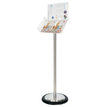Silver Freestanding Brochure Holder Holds 2 A5 with Wheel Base