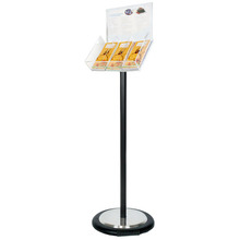 Black Freestanding Brochure Holder Holds 3 DL with Wheel Base