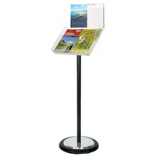Black Freestanding Brochure Holder Holds A3 Landscape with Wheel Base