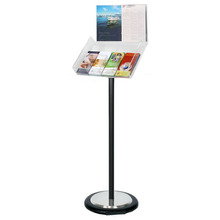 Black Freestanding Brochure Holder Holds 4 DL with Wheel Base