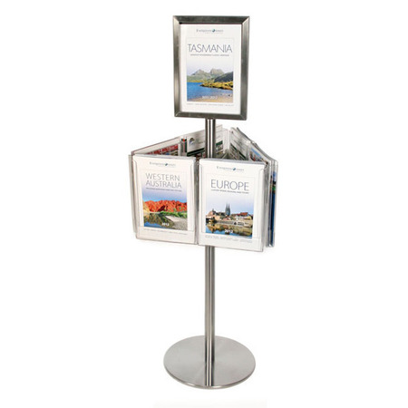 Stainless Steel Short Carousel Holds 6 A4 & A4 Sign