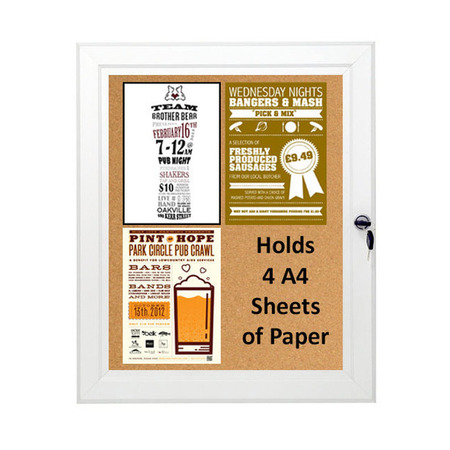 Cork Board Lockable & Water Resistant Holds 4 x A4
