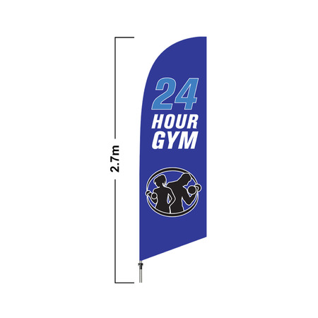 Blue 24H Gym 2.7 Meter Double Side Feather Flag