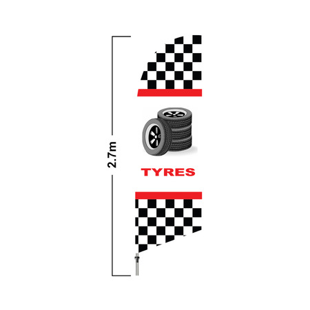 White Tyre 2.7 Meter Double Side Feather Flag