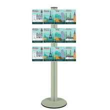 Freestanding 1400mm Silver Combo  Brochure Holder 12 A5