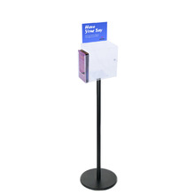 Premium Clear Suggestion Box with A5 Display on Black Pole and Base with DL Brochure Holder on Side