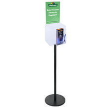 Premium Clear Suggestion Box with A4 Display on Black Pole and Base with DL Brochure Holder and Pen Holder