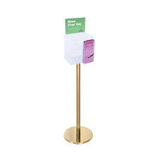 Premium Clear Suggestion Box with A5 Display on Gold Pole and Base with DL Brochure Holder