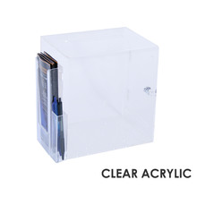 Premium Acrylic Clear Suggestion Box with DL Brochure Holder and Pen Holder on side