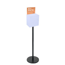 Premium Frosted Suggestion Box with A4 Display on Black Pole and Base