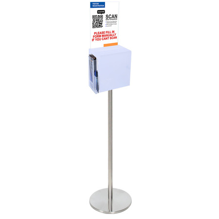 Premium Frosted Suggestion Box with A4 Display on Silver Pole and Base with DL Brochure Holder and Pen Holder on Side  - Arriving 9 June - Call us to