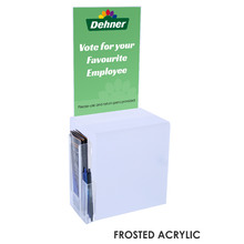 Premium Acrylic Frosted Suggestion Box with A4 Display and DL Brochure Holder and Pen Holder on side