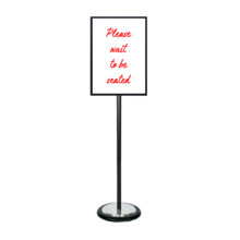 Black Ezi Pole A2 Double Sided Steel Sign with Wheel Base