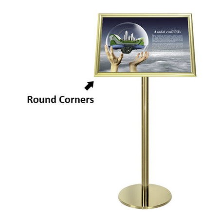 Gold Ezi Pole with 1 A2 Landscape Square Cornered Snap Frames