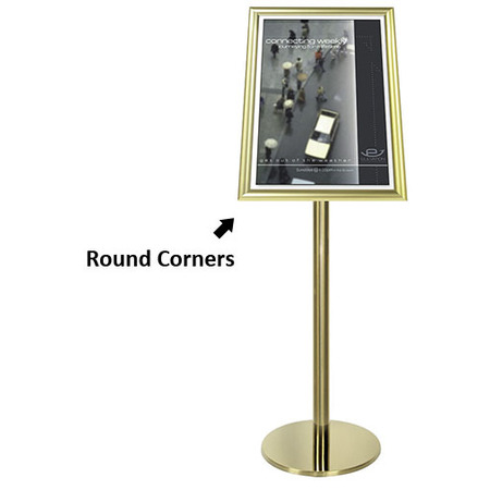 Gold Ezi Pole with 1 A2 Portrait Square Cornered Snap Frames