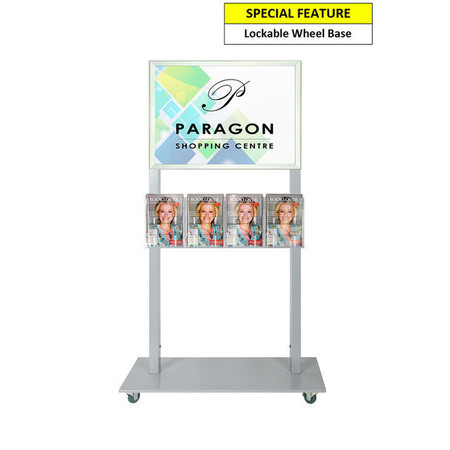 Silver Mall Stand - A2 Snap Frame with 4 A5 Brochure Holders