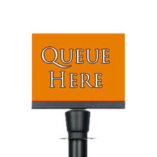 A5 Black Landscape Sign Holder Clip attachment for Rope Queue Barrier Pole