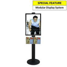 A2 Poster Holder with 4 DL Brochure Holders on Black Combo Pole 1450mm High - Single Sided